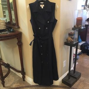 TALBOTS Navy Irish Linen Dress w/ Tie Size 14
